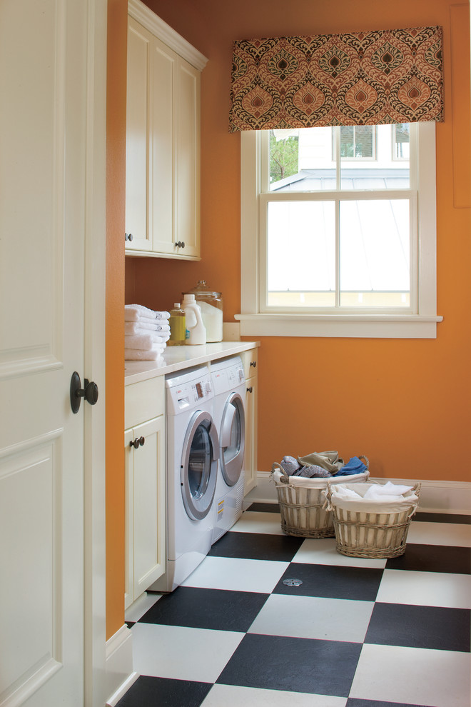 Laundry Hamper Laundry Room Traditional with Black and White Checker Floor Built In
