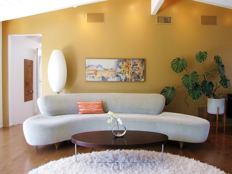 Lauzon Flooring Living Room Midcentury with Bubble Lamp Cliff May Cloud Sofa Curved