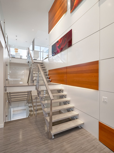 Lauzon Flooring Staircase Modern with Gray Flooring High Ceiling Metal Banister Metal Railing Natural