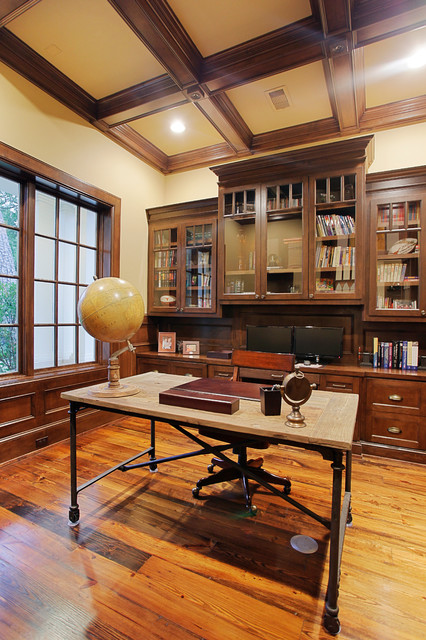 Lawyers Bookcase Home Office Traditional with Built in Bookshleves Built Ins Coffered Ceiling Cream Walls