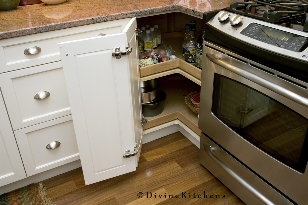 lazy susan cabinet kitchen traditional with brushed nickel condiment storage granite countertop hardwood