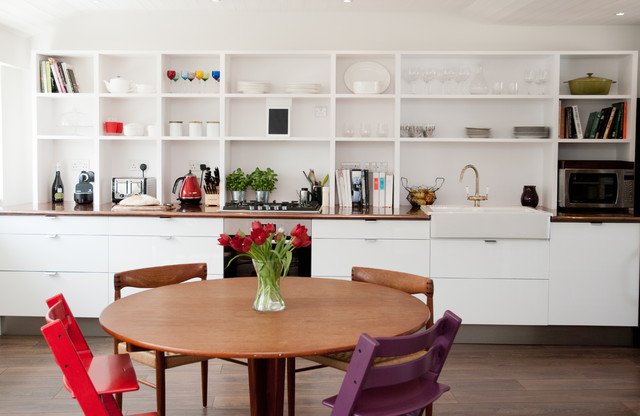 Le Creuset Stock Pot Kitchen Contemporary with 4 Chairs Around Table Apron Sink Coffee Machine Colourful