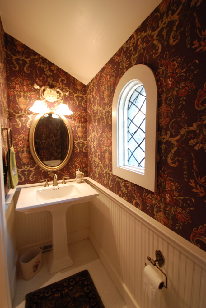 Leaded Glass Windows Bathroom Traditional with Arched Window Beadboard Cottage Style Leaded Glass