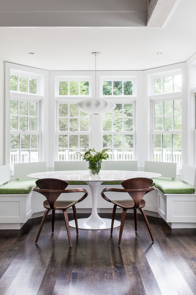 Leaded Glass Windows Dining Room Transitional with Banquette Breakfast Nook Centerpiece Curved Bench Curved