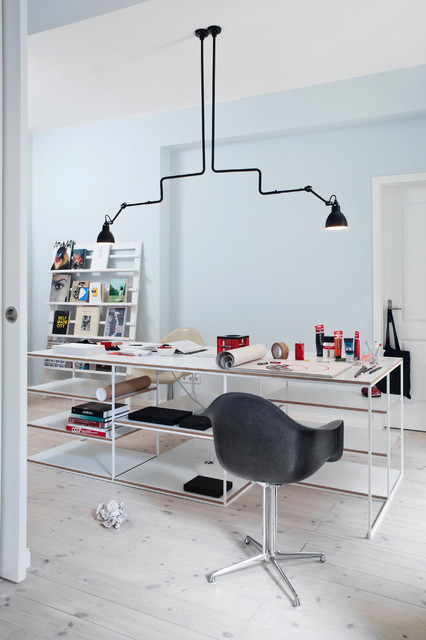 Leaning Bookcase Home Office Midcentury with Berlin Black Chair Black Pendant Lights Book Display Desk