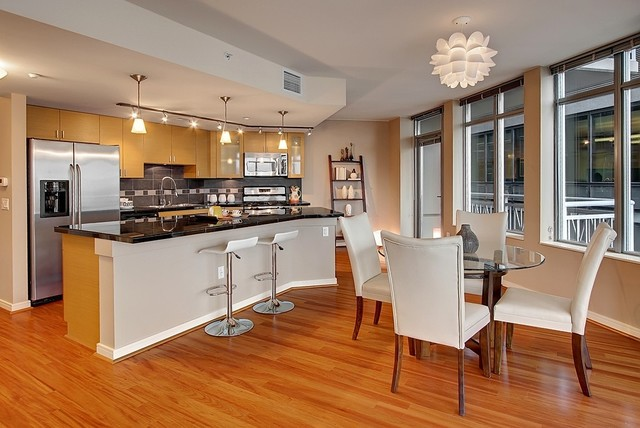 Leaning Bookcase Kitchen Contemporary with Beige Bar Stool Beige Ceiling Beige Dining Chair Beige