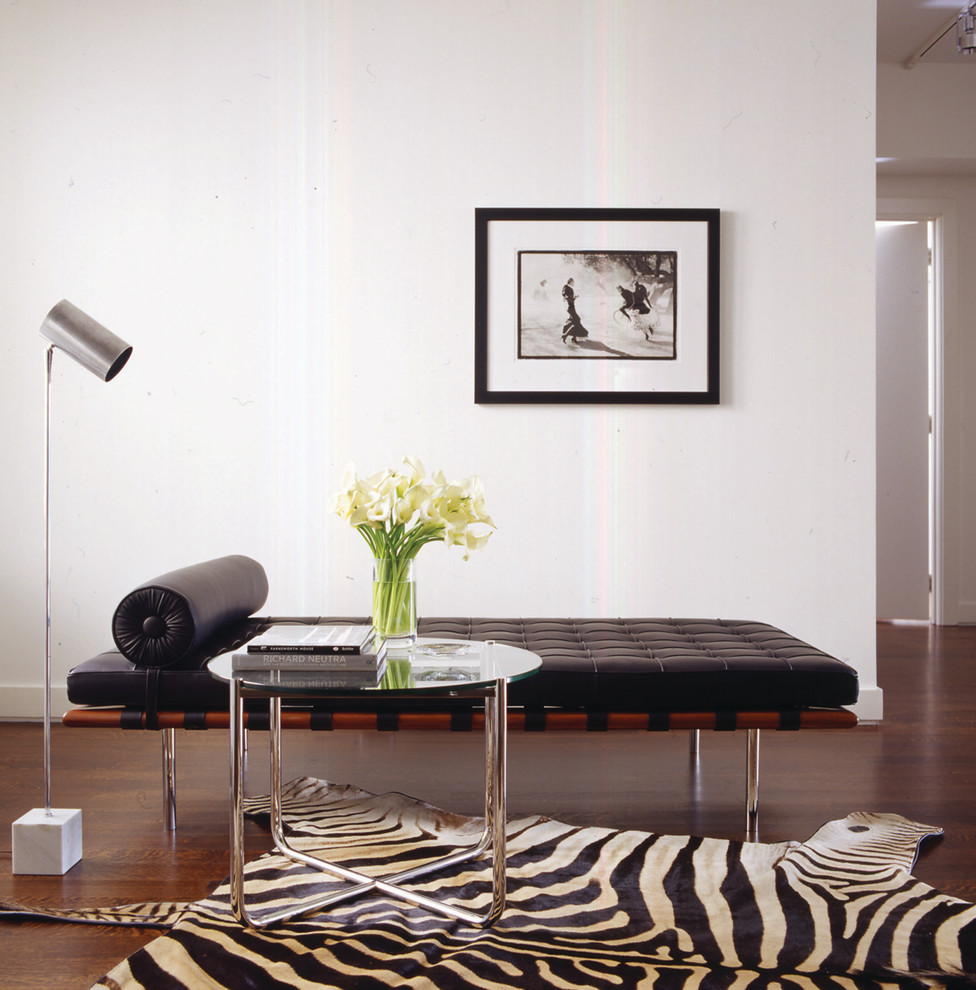 Leather Daybed Living Room Modern with Barcelona Daybed Chrome Floor Lamp Glass Side