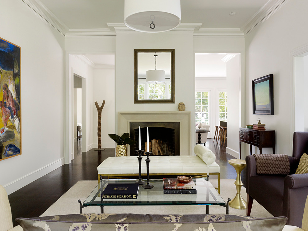Leather Daybed Living Room Transitional with Baseboard Console Table Contemporary Art Crown Molding