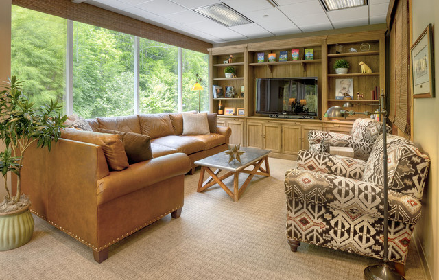 Leather Sectional Sleeper Sofa Family Room Contemporary with Built Ins Carpet Coffee Table Floor Lamp Indoor Planter