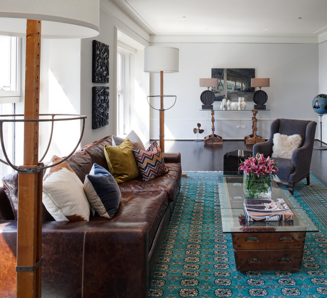 Leather Shag Rug Living Room Contemporary with Blue Rug Brown Leather Couch Crown Molding Glass Top