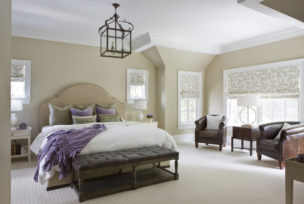 Leather Tufted Ottoman Bedroom Traditional with Bedding Carpet Headboard Lamps Lantern Leather Barrel