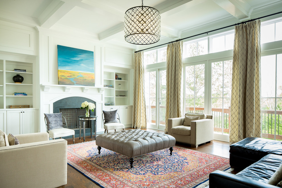 Leather Tufted Ottoman Living Room Traditional with Clerestory Windows Coffered Ceiling Patterned Curtains Pendant