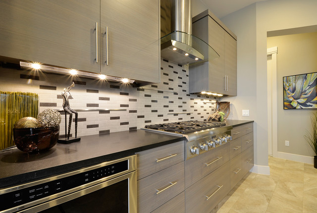 Led Under Cabinet Lighting Direct Wire Kitchen Contemporary with Beige Tile  Floor Black Tile Backsplash Cooktop - Led-under-cabinet-lighting-direct-wire-Exterior-Modern-with-Deck