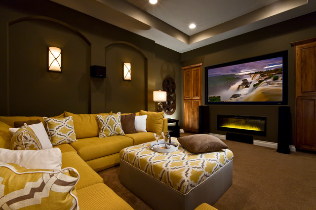 Led Wall Sconce Family Room Contemporary with Brown Carpet Brown Throw Pillows Green Walls Home Theater