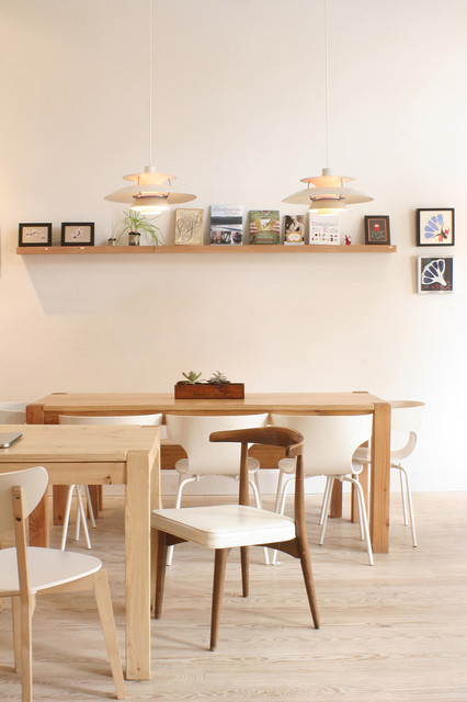 Ledge Shelf Dining Room Contemporary with Artwork Dining Table Floating Shelf Modern Chairs Natural Wood