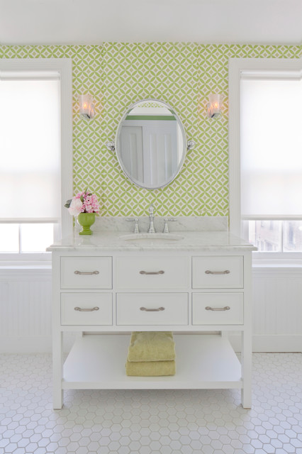 Leeds Certification Bathroom Traditional with Airy Beadboard Chrome Clean Faucet Feminine Green Light Lighting