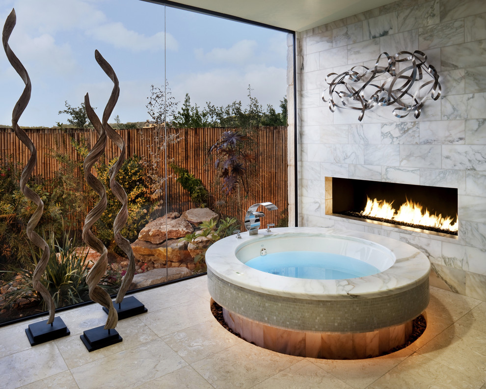 Lennox Fireplace Bathroom Contemporary with Artwork Fireplace Glass Wall Picture Window Privacy