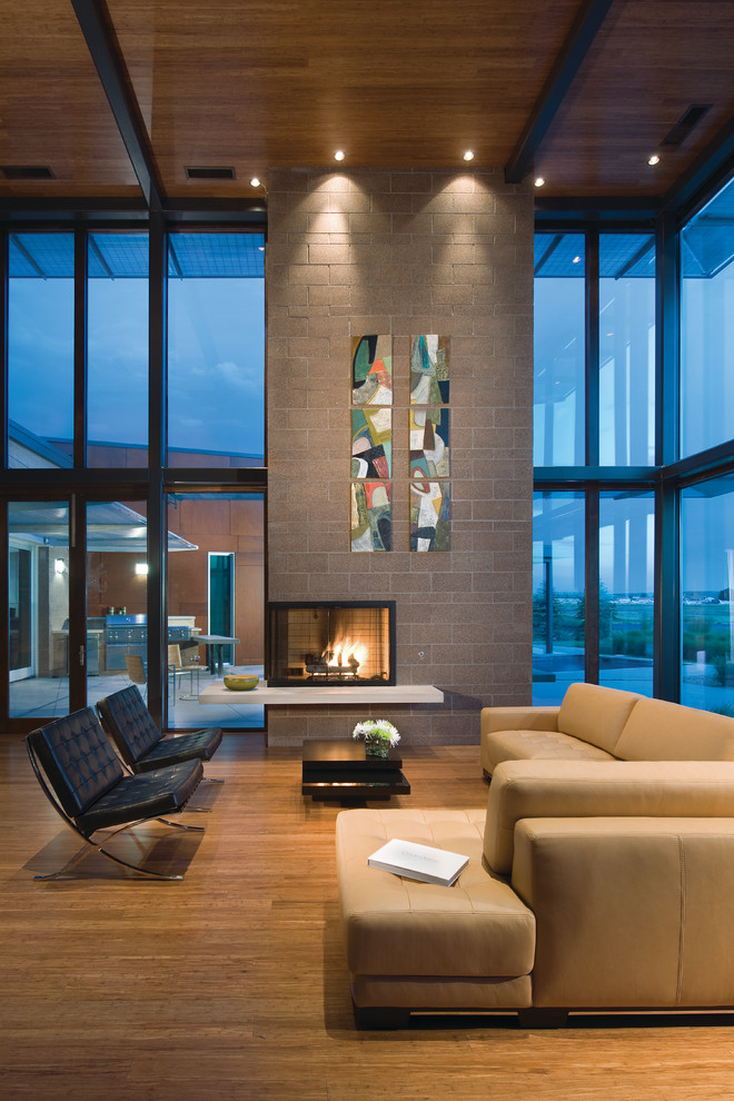 Lennox Fireplace Living Room Contemporary with Bamboo Ceiling Bamboo Floors Beige Leather Sectional