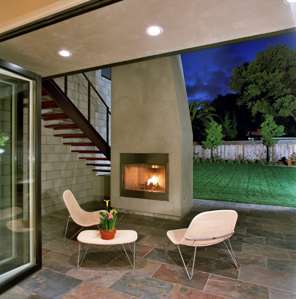 Lennox Fireplaces Patio Contemporary with Back Yard Cable Railing Concrete Block Wall
