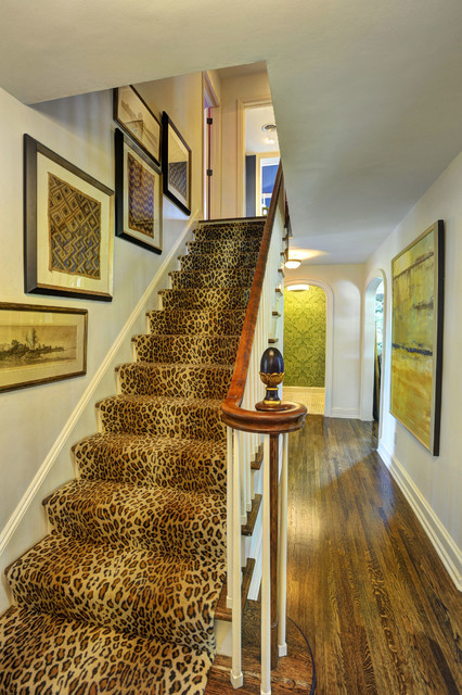 leopard print rug Staircase Traditional with finial framed wall art leopard print newel post stair
