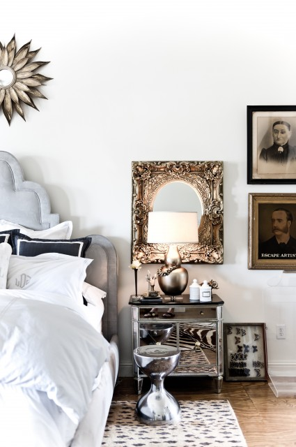 Leopard Rug Bedroom Transitional with Antique Photographs Bedside Table Gallery Wall Leopard Print Rug