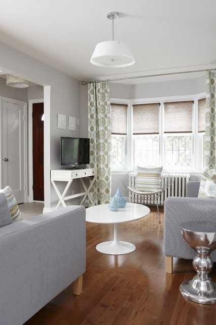 Levolor Faux Wood Blinds Living Room Transitional with Bay Window Gray Armchair Gray Sofa Gray Wall Lacquer