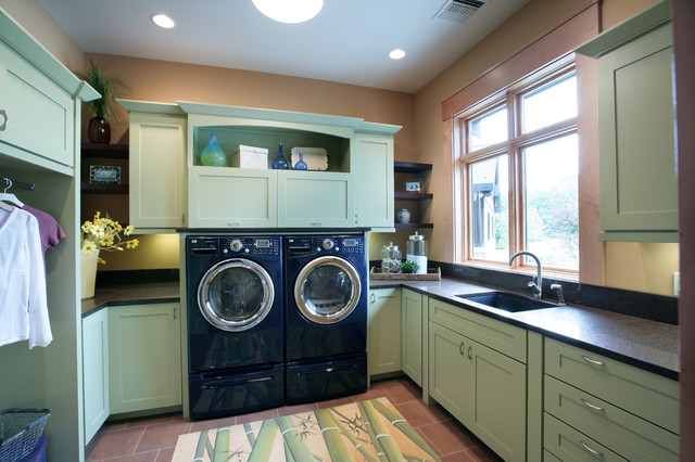 Lg Steam Washer and Dryer Laundry Room Contemporary with Bamboo Rug Ceiling Lighting Floating Shelves Floor Tile Front