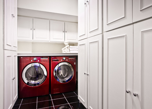 Lg Steam Washer and Dryer Laundry Room Contemporary with Black Tile Chrome Knobs Red Washer Dryer Storage White