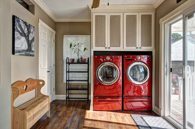 lg steam washer and dryer Laundry Room Traditional with beautiful laundry room beige walls dark hardwood floors mixed