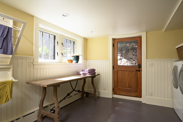 Lifetime Folding Table Laundry Room Craftsman with Baseboard Radiator Bead Board Wainscot Built in Drying Rack