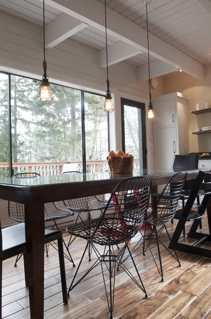 Light Bulb Cage Kitchen Contemporary with Beadboard Chair Dining Chair Dining Table High Chair Modern