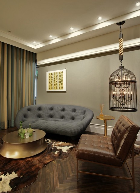 Light Bulb Cage Living Room Eclectic with Cage Chandelier Ceiling Lighting Chevron Cowhide Rug Dark Floor