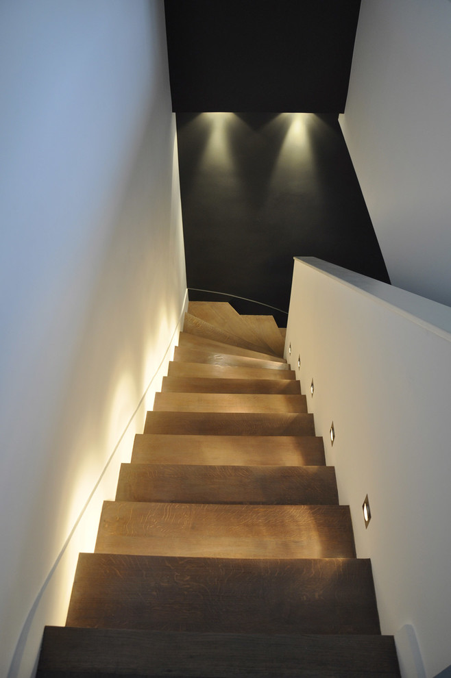 Light Bulb Disposal Staircase Modern with Black Floor Stair Lighting White Walls Wood