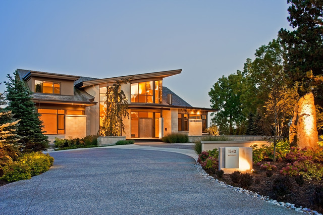 lighted house numbers Exterior Contemporary with boulders curb appeal dormers driveway entrance entry evergreens front