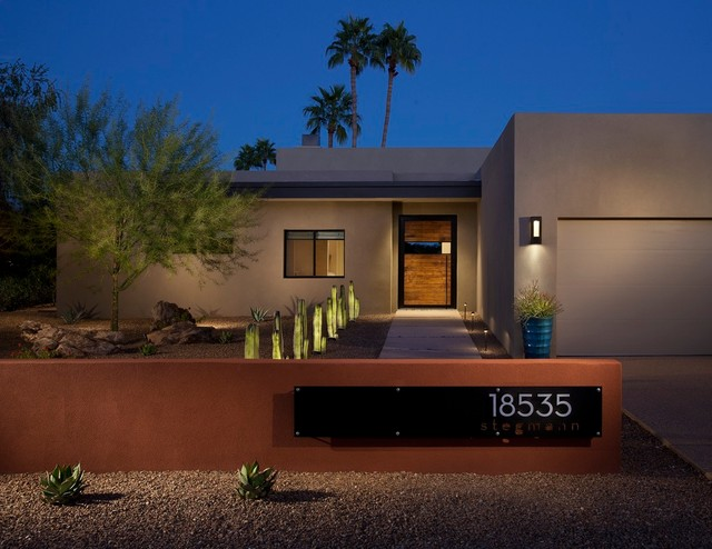 Lighted House Numbers Exterior Contemporary with Cacti Desert Landscape Exterior Flat Roof Front Door Front