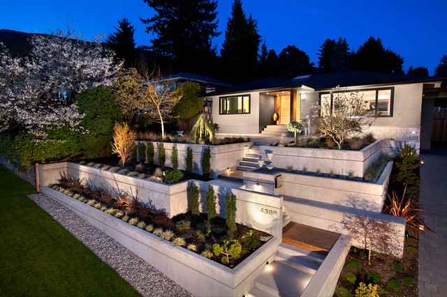 Lighted House Numbers Exterior Midcentury with Concrete Retaining Walls Curb Appeal Entrance Entry Front Door