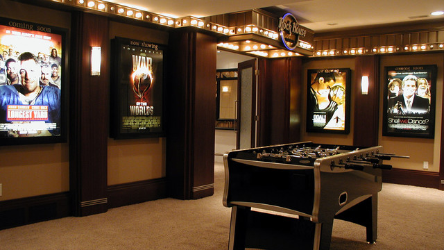 Lighted Marquee Letters Home Theater Contemporary with Foosball Table Game Room Home Theater Movie Posters Recreation