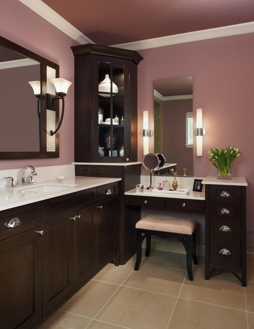 Lighted Vanity Table Bathroom Traditional with Cabinetry Corner Cabinet Cosmetic Mirror Dark Wood Cabinetry Door