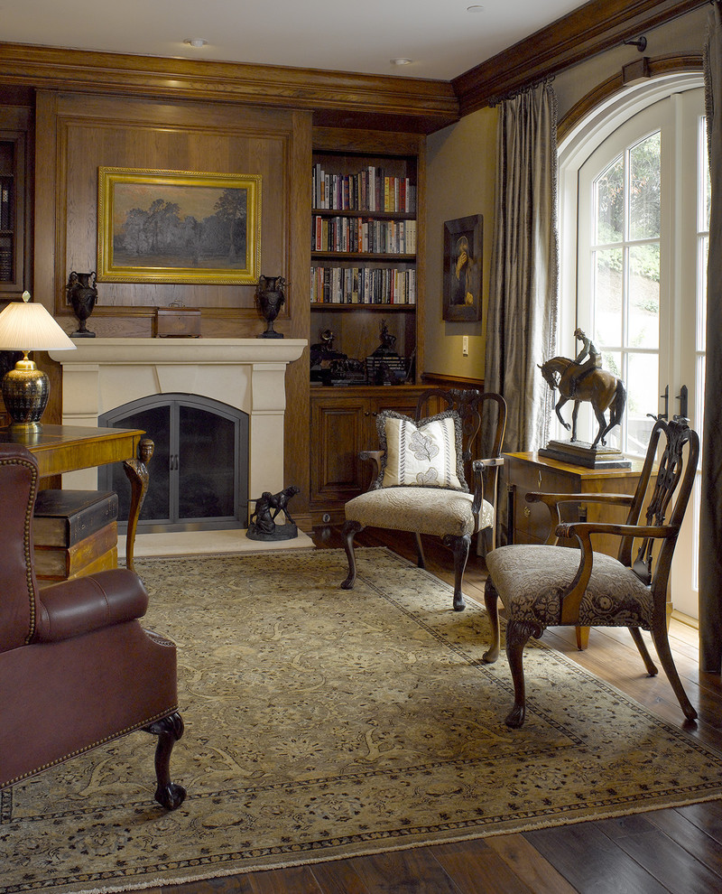 Limestone Fireplace Home Office Traditional with Arched Window Area Rug Arm Chairs Built