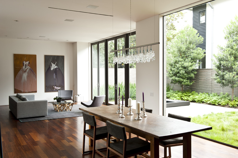 Linear Chandelier Dining Room Contemporary with Artwork Candlestick Chair Chandelier Cumaru Dining Table