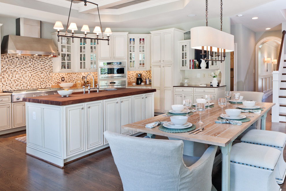 Linear Chandelier Kitchen Transitional with Farmhouse Table Kitchen Island Linear Chandelier Mosaic