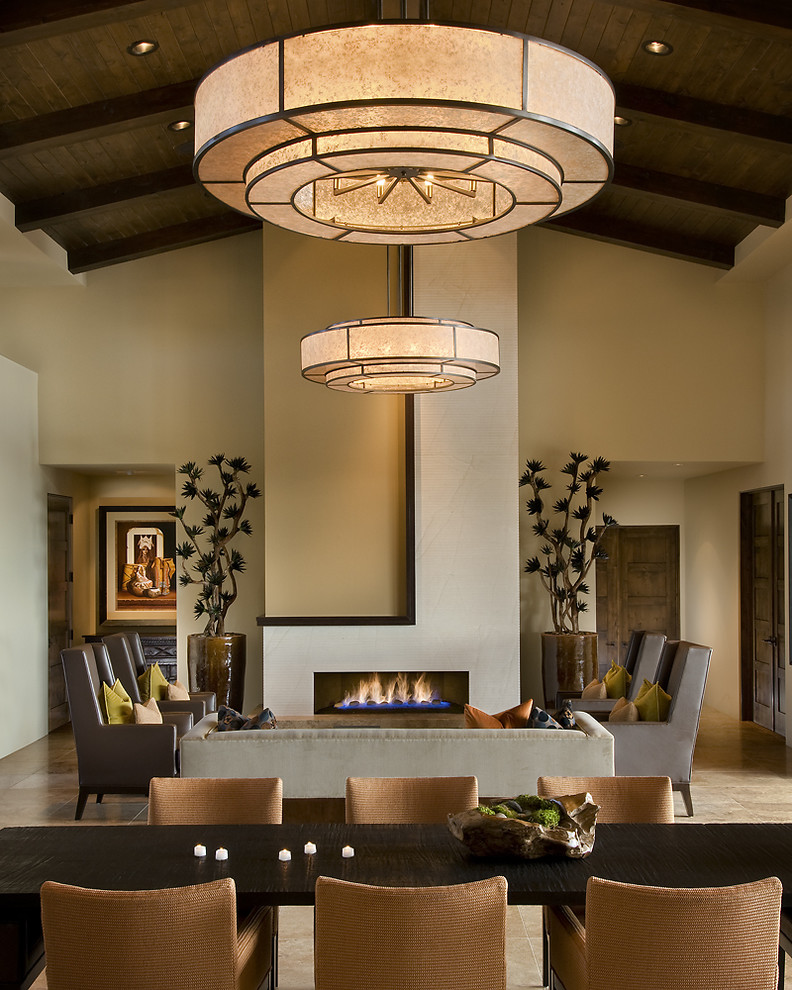 Linear Fireplace Living Room Contemporary with Accent Wall Arced Ceiling Ceiling Light Chair