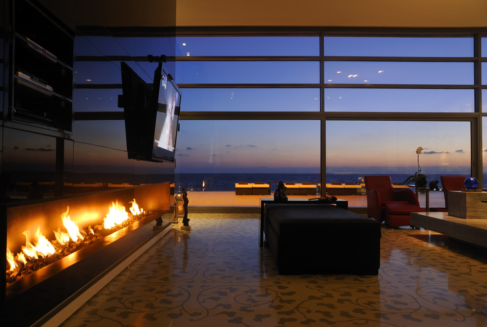 Linear Fireplace Living Room Contemporary with Bells Daybed Indoor Outdoor Large Windows Red