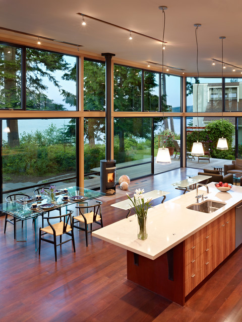 Linoleum Flooring Lowes Kitchen Modern with Freestanding Rais Woodstove Glass Dining Table Glass House Glass