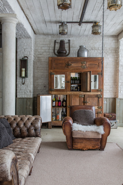 Liquor Cabinet Furniture Home Bar Traditional with Armchair Drinks Cabinet Ice Box Kitchen Leather Armchair Refrigerator1
