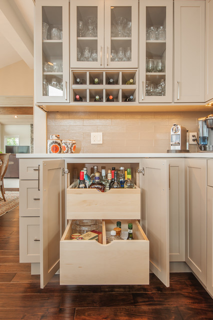 Liquor Cabinet Furniture Kitchen Transitional with Alcohol Storage Bar Beige Kitchen Cabinets Cabinet Drawers Glass1