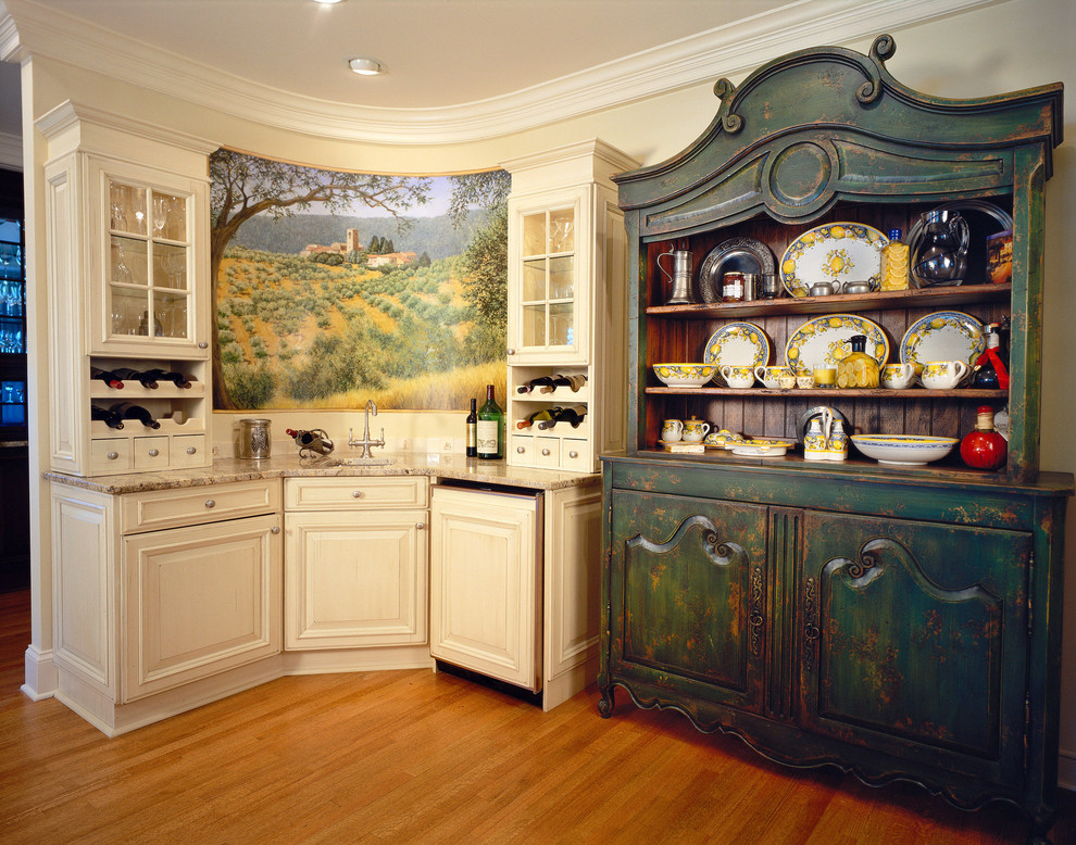Liquor Cabinets Kitchen Shabby Chic with Bar Sink Beige Cabinet Beige Drawer Colorful