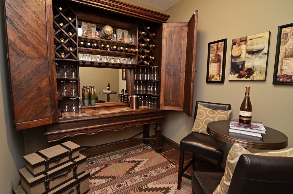Liquor Cabinets Wine Cellar Traditional with Beige Cafe Table Dark Stained Wood Leather