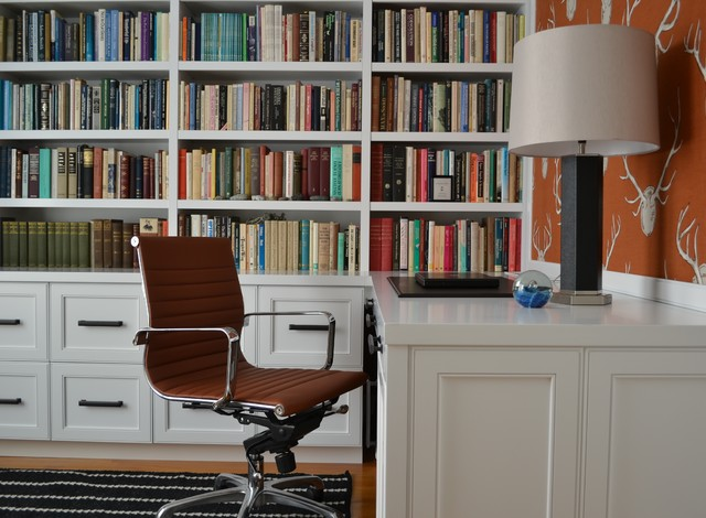 Locking File Cabinet Home Office Eclectic with Book Storage Books Bulliton Board Cognac Leather Custom Built