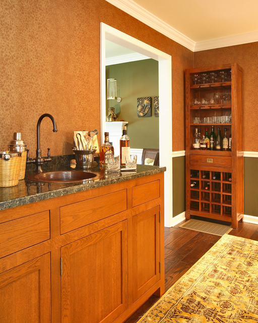 Locking Liquor Cabinet Home Bar Traditional with Bar Built Ins Chair Rail Copper Sink Den Green